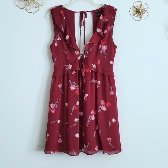 Lumiere Burgundy / Maroon Floral Swing Min…